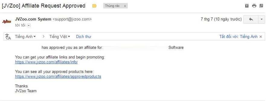 Email Jvzoo chấp nhận
