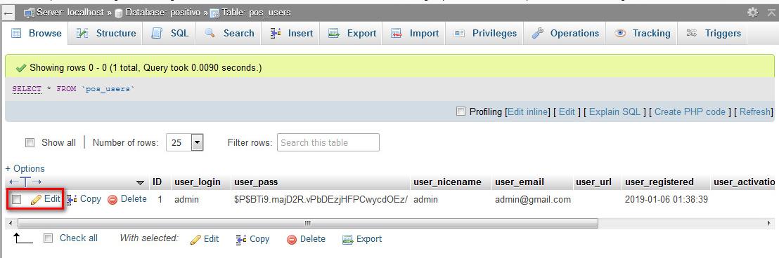 Đổi mật khẩu WordPress trong database