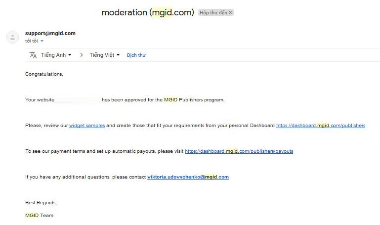 Mgid chấp nhận website