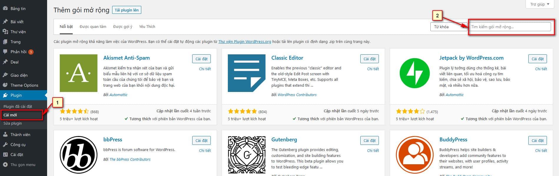 Hướng dẫn cài đặt Plugin trong WordPress