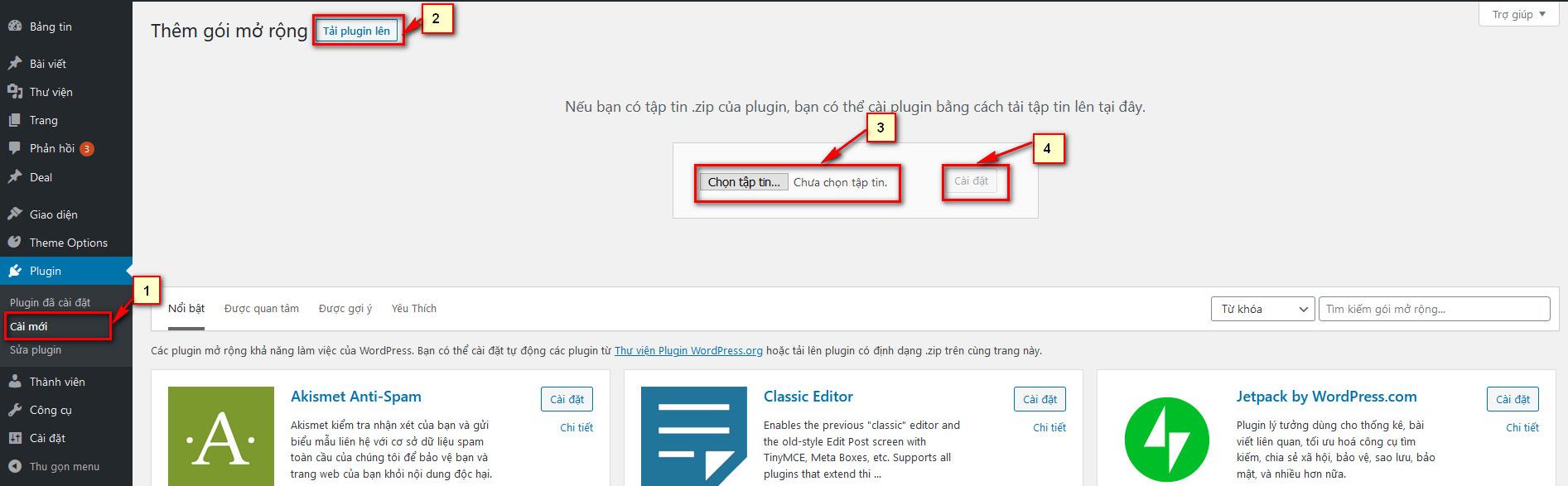 Cài đặt Plugin WordPress bằng cách tải file