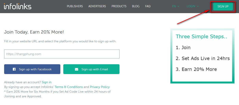 Đăng ký tài khoản Infolinks