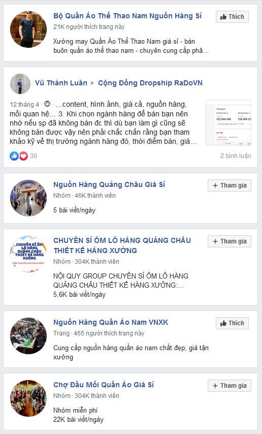 Kết quả tìm nguồn bán hàng online trên Facebook