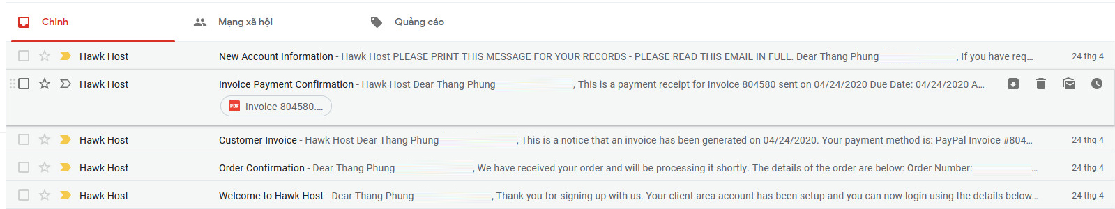 Email nhận được khi mua Hawkhost
