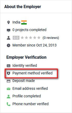 Tài khoản Freelancer.com chưa xác minh thanh toán