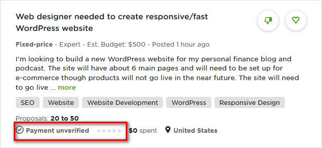 Tài khoản Upwork.com chưa xác minh thanh toán