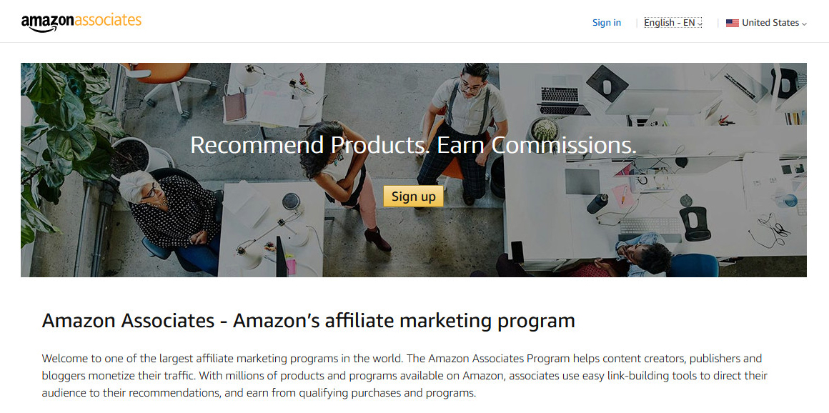 Amazon Associates - Nền tảng tiếp thị liên kết chiếm thị phần lớn nhất.