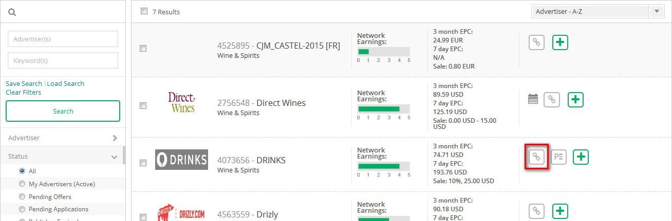 Danh sách sản phẩm CJ affiliate sau khi lọc